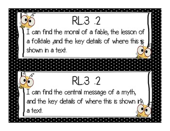 """Common Core """"I Can"""" Posters for 3rd Grade- Polka Dot and Bee Themed"""