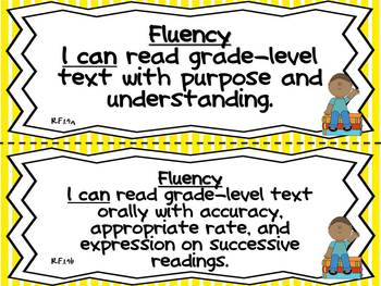 Common Core Posters for First Grade ELA-Teacher & Student Pages