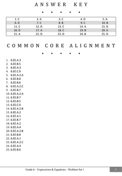 Common Core Practice Problems Grade 6 Expressions and Equations Set 1