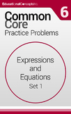 Common Core Practice Problems Grade 6 Expressions and Equa