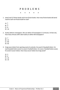 Common Core Practice Problems Grade 6 Ratios & Proportional Relationships Sample