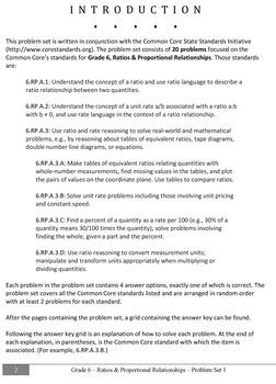 Common Core Practice Problems Grade 6 Ratios & Proportional Relationships Set 1