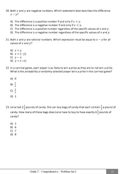 Common Core Practice Problems Grade 7 Comprehensive Pretest / Posttest