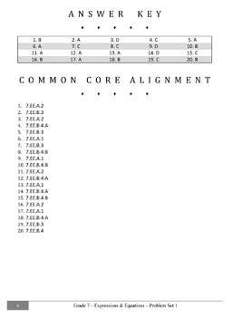 Common Core Practice Problems Grade 7 Expressions and Equations Set 1