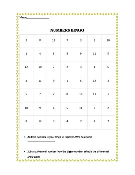Common Core Practice With Math Bingo