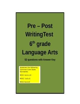Common Core Pre-Post Writing Test - 6th grade