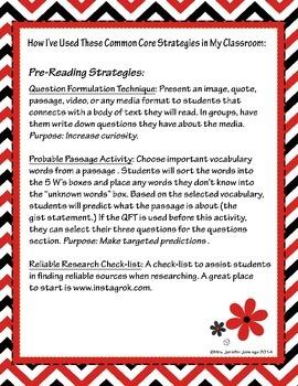 Common Core Pre-Reading Strategies