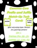 Common Core Prefix & Suffix Match Task Cards re-, pre-, un-, -ly,  -less, -ful
