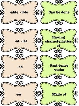 Common Core Prefixes and Suffixes