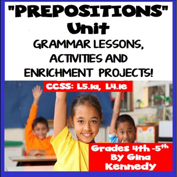Preposition Unit; Lesson, Word Bank, Activities, Writing a