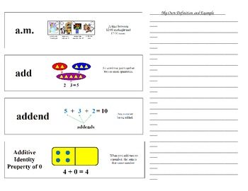 Common Core:  Preview Math Word Wall Journal