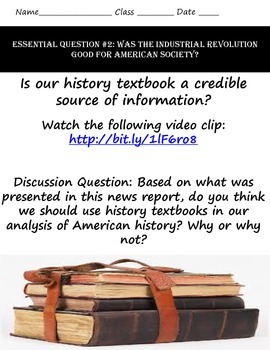 The American Industrial Revolution & Your Textbook: A Common Core History Lesson
