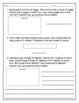 Common Core Multiplication Word Problems w/ANSWER KEY- Go Math Chapter 4