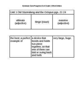 Sadlier School - Common Core Progress ELA Grade 3 Unit 1 Vocabulary