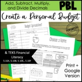 5th Grade Math Project Based Learning | Personal Budget | Decimals TEKS CCSS