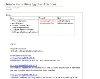 Common Core Project Based Lesson: Egyptian Fractions / Add