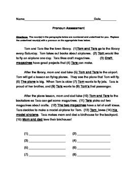 Common Core Pronoun Worksheet/Assessment