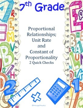 Common Core Proportional Relationships Quick Checks