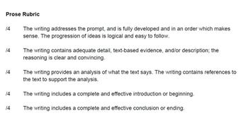 Common Core Prose Rubric 6th, 7th, 8th grade (middle school)