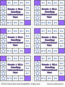 Common Core Punch Cards for Grade 1: All Standards Included