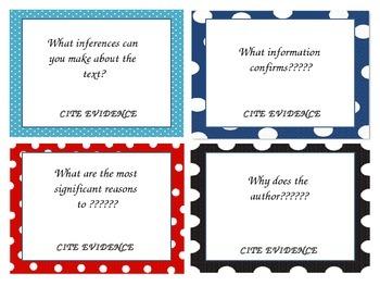 Common Core Question Cards
