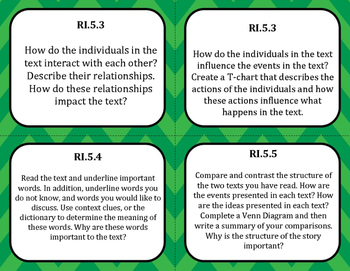 Common Core Question Cards Reading Standards for Informational Text Grade 5