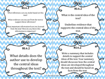 Common Core Question Cards Reading Standards for Informational Text Grade 6
