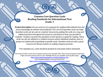 Common Core Question Cards Reading Standards for Informational Text Grade 8