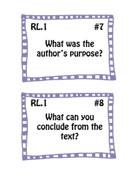 Common Core Question Stem Prompt Cards