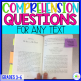 Text Dependent Question Stem Sticky Notes:Grade 3-6 Reading Standard Alignment