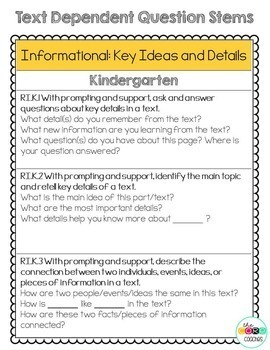 Text Dependent Question Stem Sticky Notes: K-2 Reading Standards Alignment