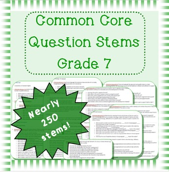 Common Core question stems for grade 7