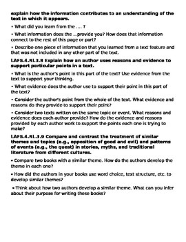 Common Core Question Stems for 2nd grade Reading Literature ALL STANDARDS