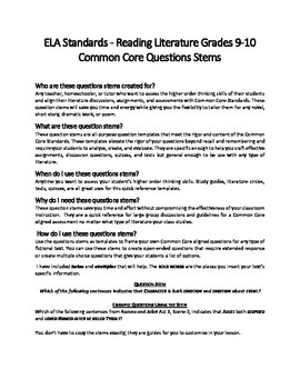 Common Core Question Stems for Literature 9-10th Grade