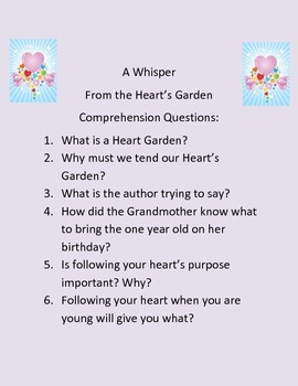 Common Core Questions for A Whisper From the Heart's Garden