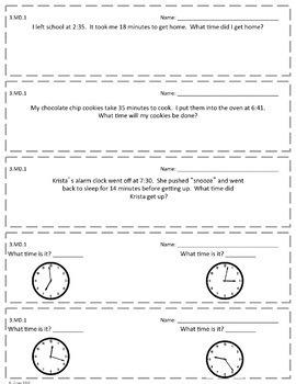 3rd Grade Math Exit Slips EDITABLE