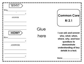 Common Core RI 2.1 Foldable