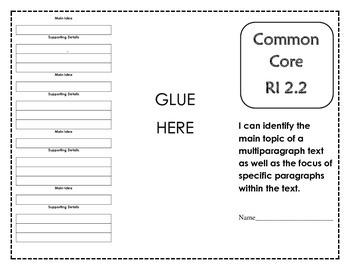 Common Core RI 2.2 Reading Foldable