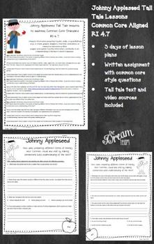 Common Core RI 4.7 * Johnny Appleseed Tall Tale Reading lesson