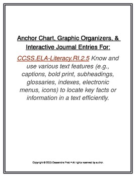 Common Core RI.2.5: Anchor Chart, Graphic Organizers,Interactive Journal Entries