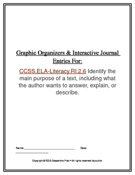 Common Core RI.2.6: Graphic Organizers & Interactive Journal Entries