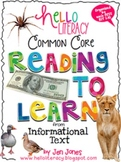 Common Core RIT: Comprehension Strategy Sheets for K-2 Informational Reading