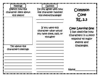 Common Core RL 2.3 Trifold