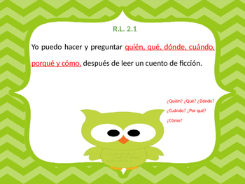 Common Core RL2. standards posters Spanish and English