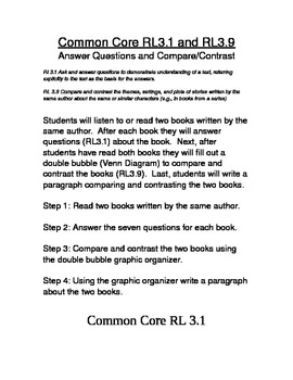 Common Core RL3.1 and RL3.9