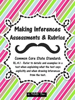 Common Core RL.4.1 {Inference Assessments & Rubrics}