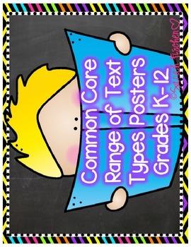 Common Core Range of Text Type Posters/Label
