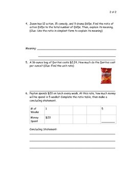 Common Core: Ratio, Rate, and Ratio Table Quiz with Study Guide