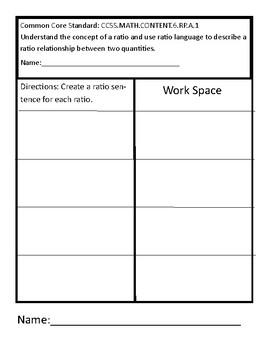 Common Core Ratio Worksheet
