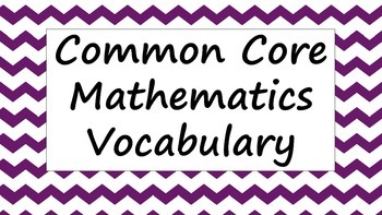 Common Core Ratio and Rate Vocabulary Word Wall Posters